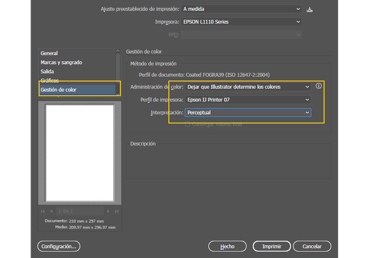Configurar impresora para sublimacion en ilustrador