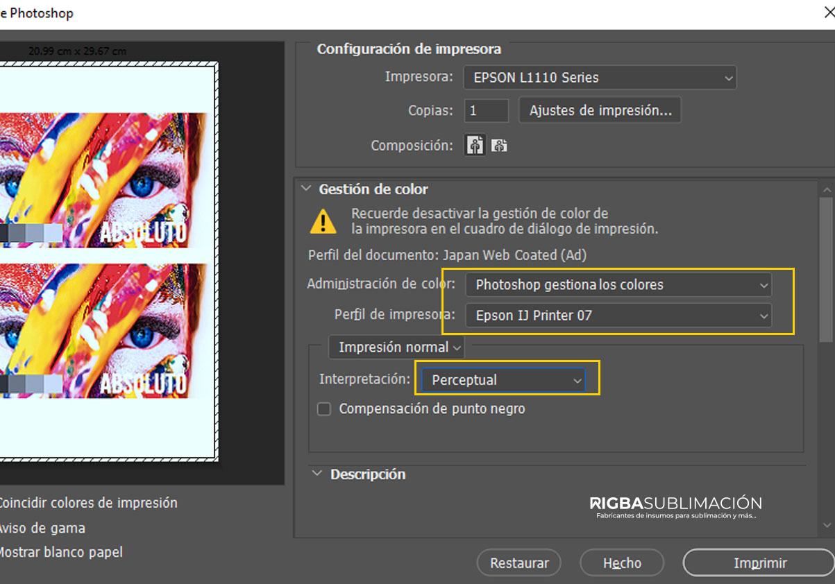 Configurar impresora para sublimación en photoshop