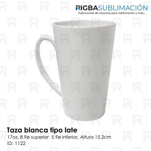 Taza blanca tipo latte para sublimación