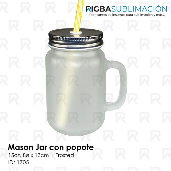 Mason jar frosted con popote para sublimación