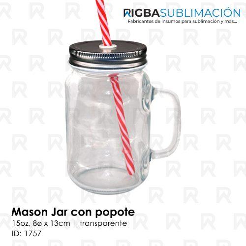 Mason Jar transparente con popote para sublimación