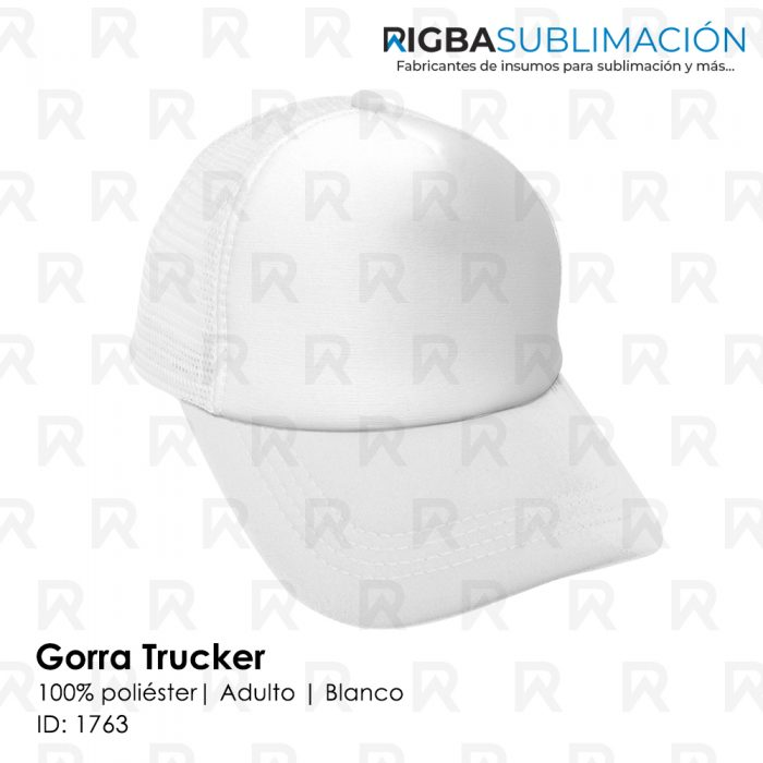 Gorra trucker para sublimación blanca