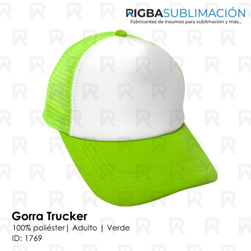Gorra trucker niño para sublimación verde