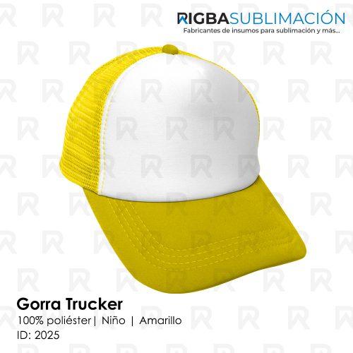 Gorra trucker niño para sublimación amarillo