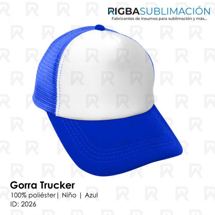Gorra trucker niño para sublimación azul