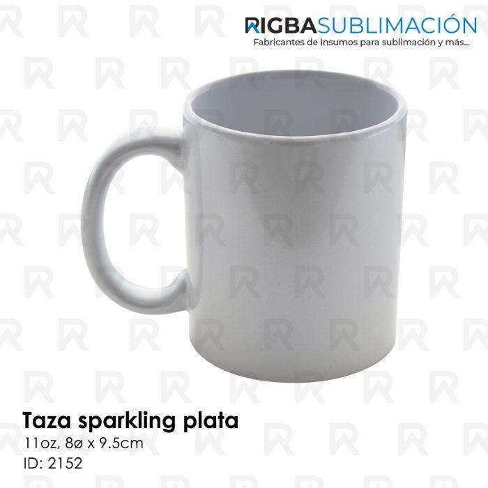 Taza sparkling plata para sublimación
