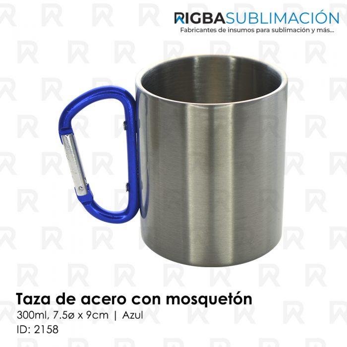 Taza de acero con mosquetón para sublimación azul