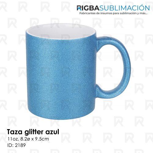 Taza glitter azul para sublimación