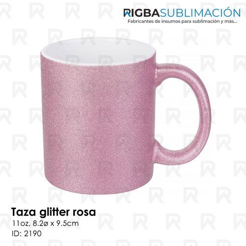 Taza glitter rosa para sublimación