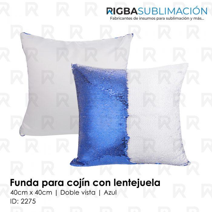 Funda para cojín con lentejuela para sublimación azul