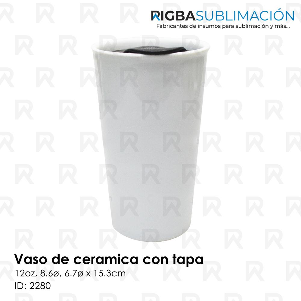 Vaso de cerámica con tapa para sublimación