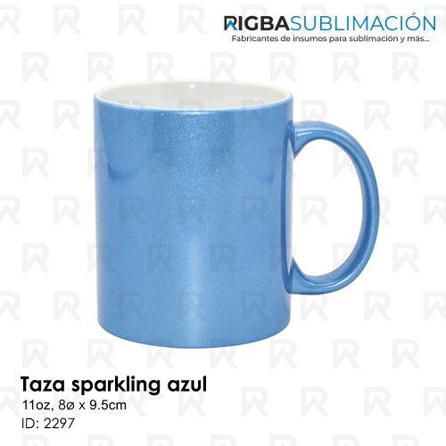 Taza sparkling azul para sublimación