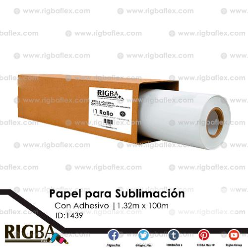 Papel para sublimacion con adhesivo 1.32m x 100m