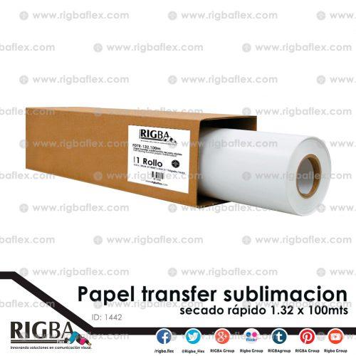 Papel para sublimacion secado rapido 1.32m x 100m
