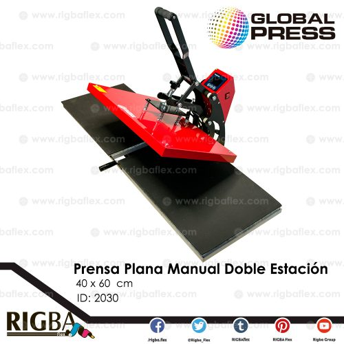 Prensa Plana Manual Doble Estación Deslizable 40 x 60